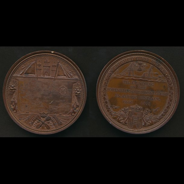 1891, DFDS 1866-1891, bronze, 69 mm, lille KS kl 12,15 avers,hul til øsken som medfølger. detaljerig