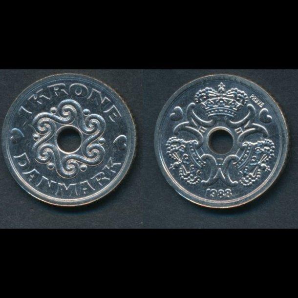 1988, Margrethe II, 1 krone, 0, prøvemønt