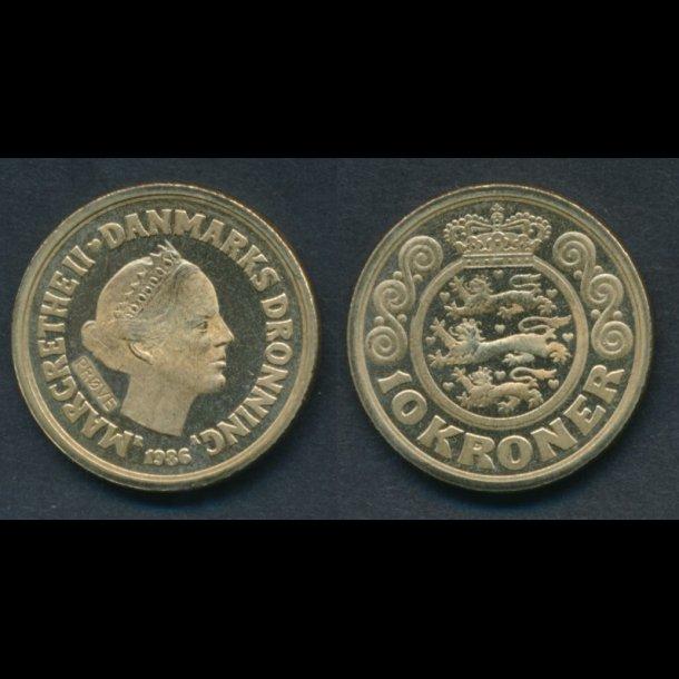 1986, Margrethe II, 10 kroner, 0, prøvemønter