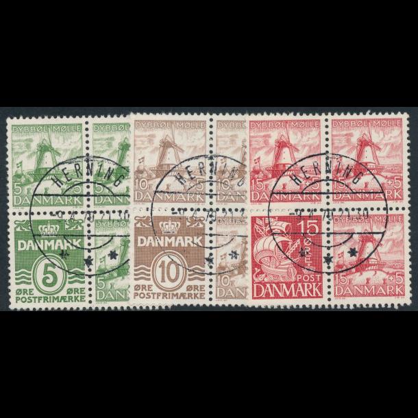 .236-38, 1937, frimærker, Danmark, Dybbøl, fireblok, ʘ