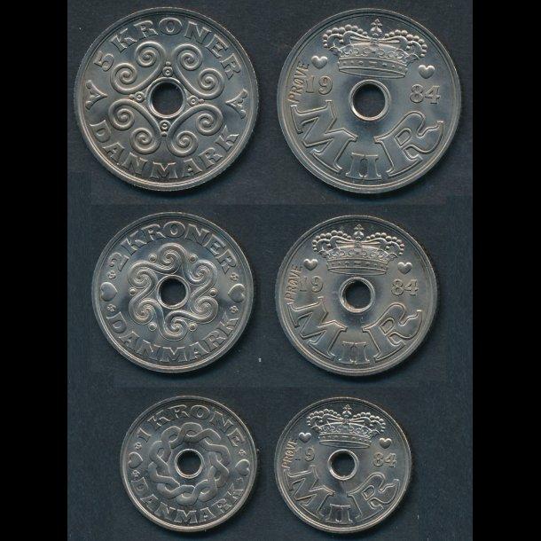 1984, Margrethe II, 1-2-5 kroner, GP 16-18, 0, prøvemønter
