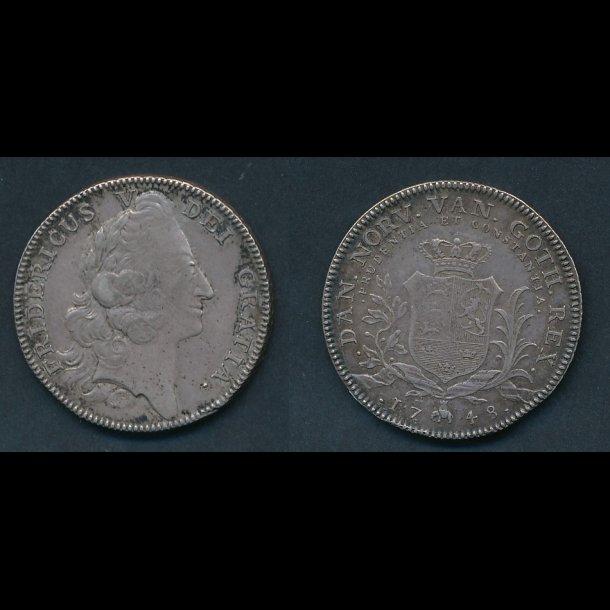 1748, Frederik V, krone, 1+/01, H 31A