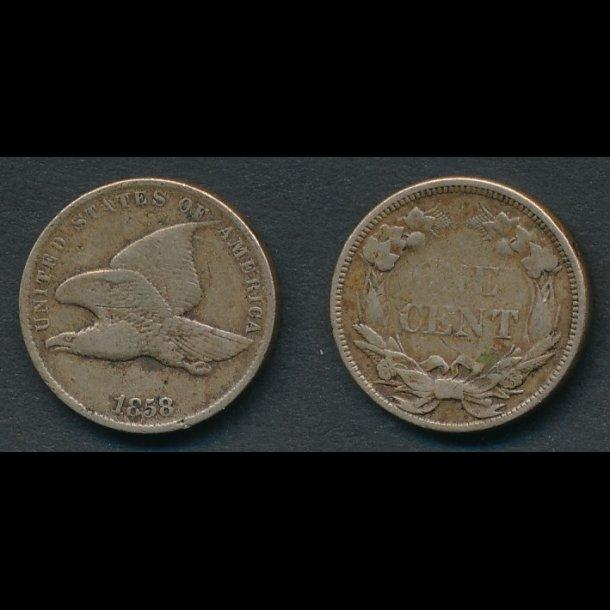 1858, USA, 1 cent,