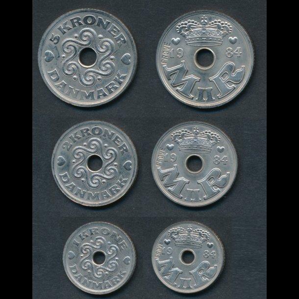 1984, Margrethe II, 1-2-5 kroner, GP 19-21, 0, prøvemønter