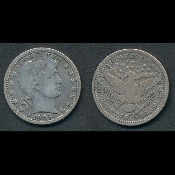 1905, USA, quarter, 1/4 dollar, MS,