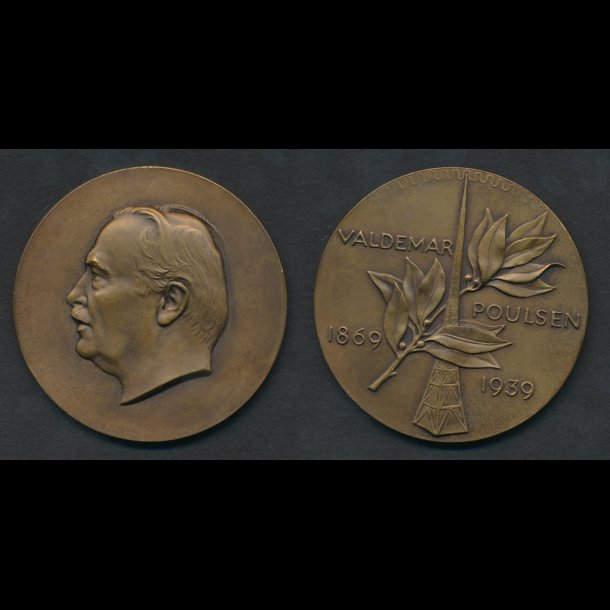1939,Valdemar Poulsen, bronze, HS 19, 65 mm, 112 g,