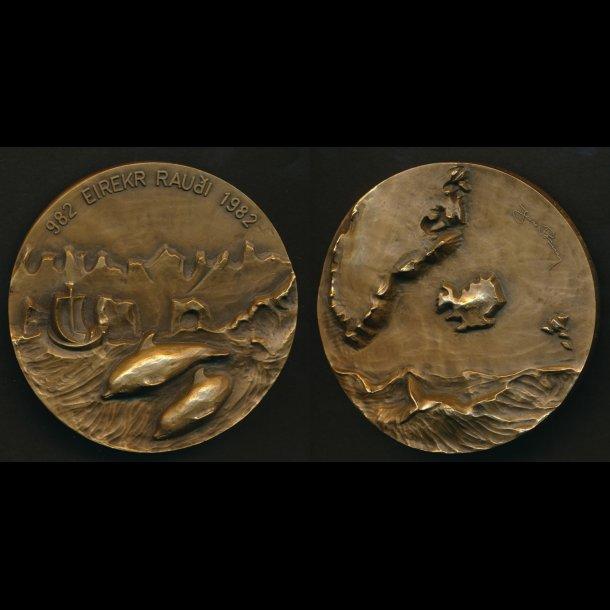 1982, Island, 1000 året for Erik den Røde, bronze, 70 mm, A. Nyborg