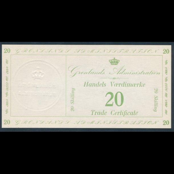 1941, Grønland, 20 skilling, Handels Værdimærke, 0
