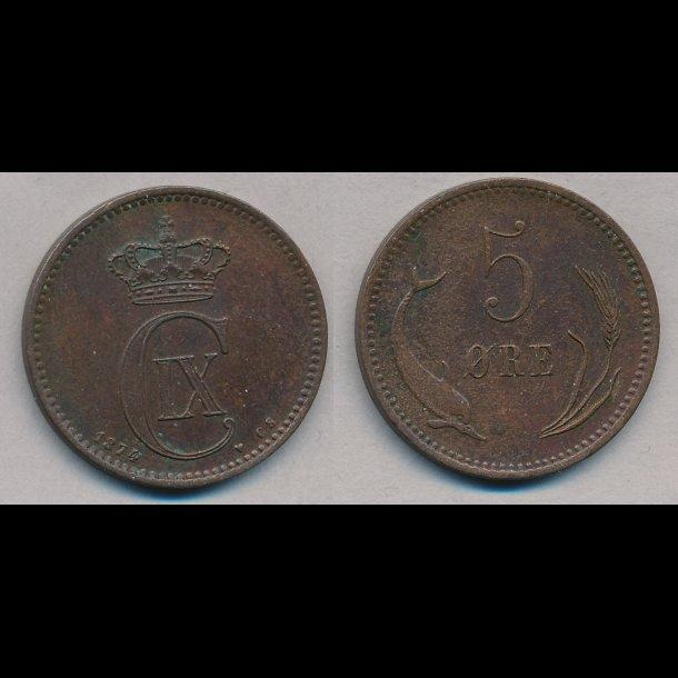 1874, Christian IX, 5 øre, 1+