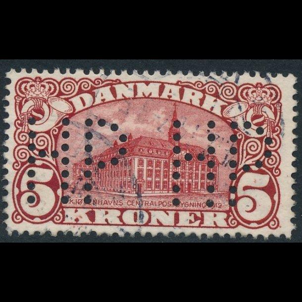 .67, 5 kroner, posthus perfin, HP, ʘ