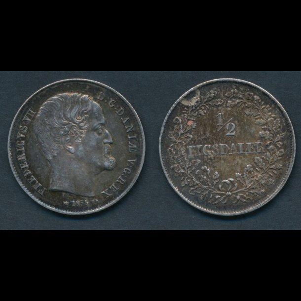 1855, Frederik VII, ½ Rigsdaler, 0/01