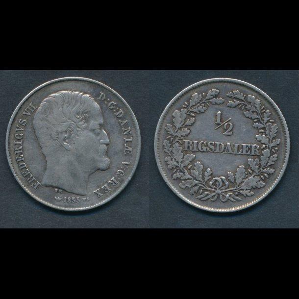 1855, Frederik VII, ½ Rigsdaler, 1+
