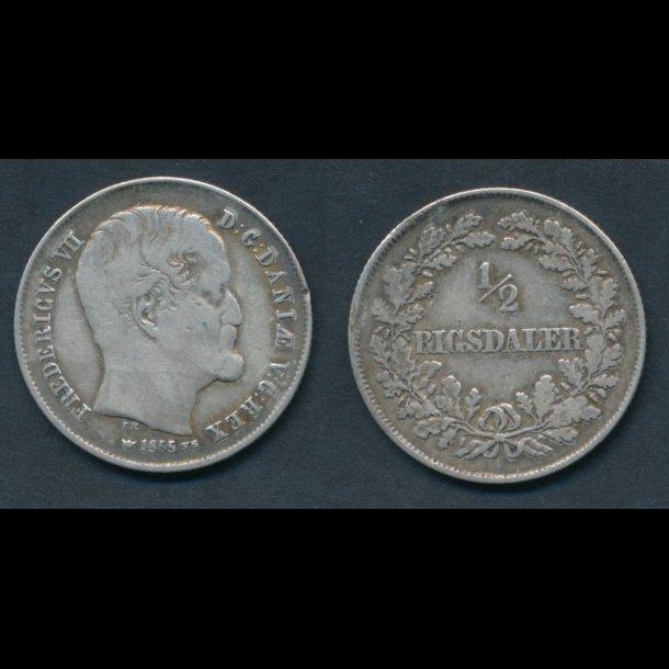 1855, Frederik VII, ½ Rigsdaler, 1