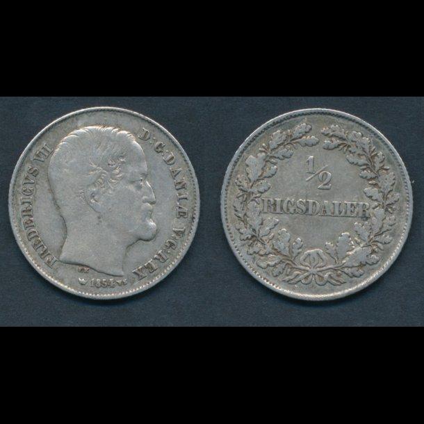 1854, Frederik VII, ½ Rigsdaler, 1+