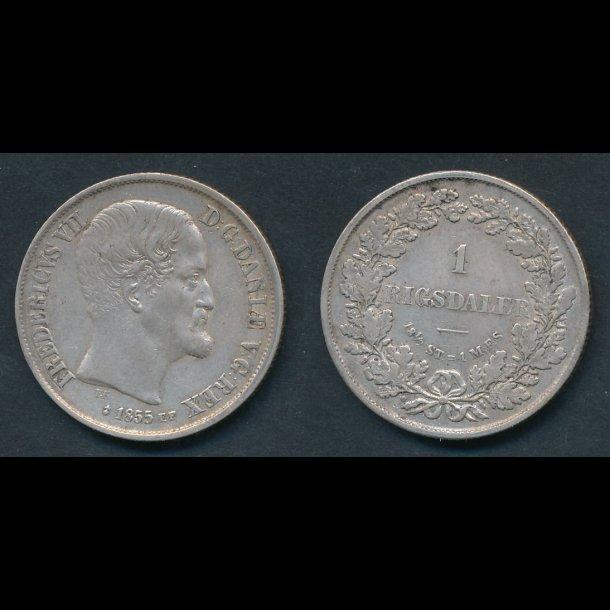 1855, Frederik VII, 1 Rigsdaler, FF, 01, (26)