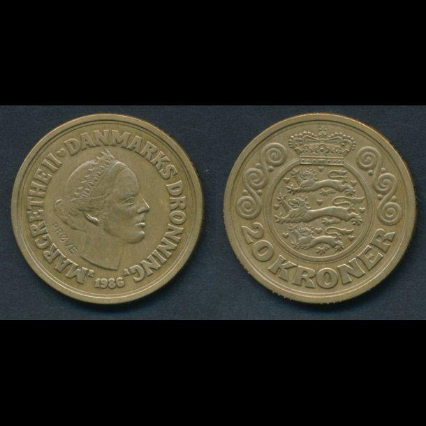 1986, Margrethe II, 20 kroner, 1+, prøvemønt