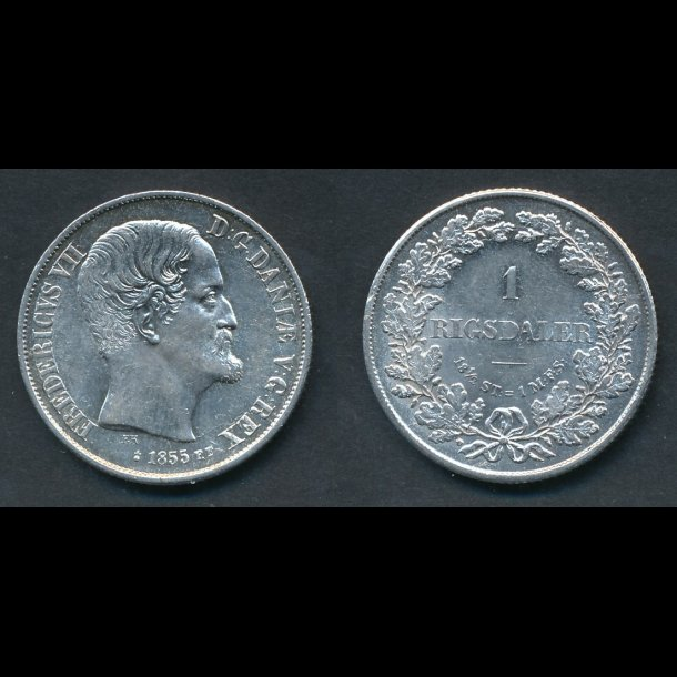 1855, Frederik VII, 1 Rigsdaler, FF, 0/01, (*24)
