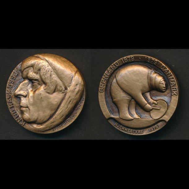 1979, Knud Rasmussen, Grønlands hjemmestyre, bronze,Wilmont, 68/1500