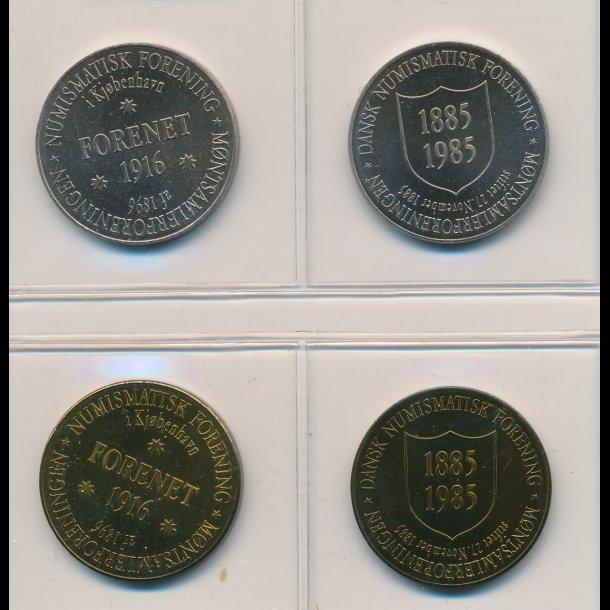 1985,  DNF's 100 års jubilæums jetons i messing og CUNI, i alt 4 stk