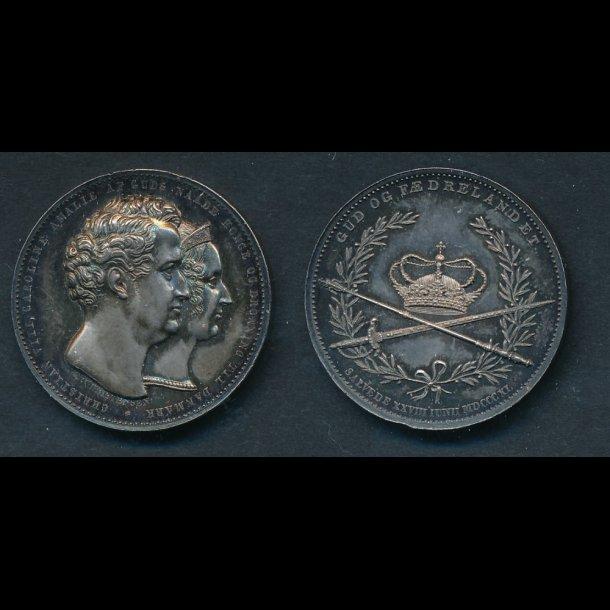 1840, Christian VIII, sølv, 27 mm, 11g, proof