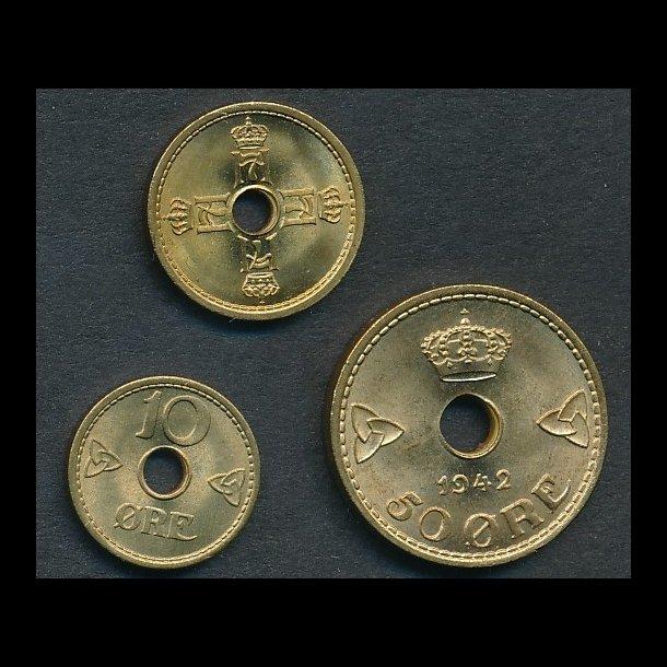 1942, London sæt, 10, 25 og 50 øre, 0/01 - NORGE