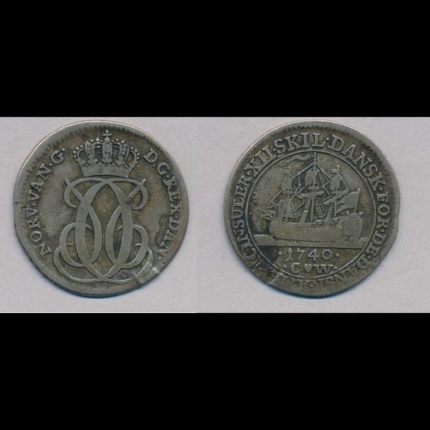 1740, Dansk Vestindien, Christian VI, 12 skilling, 1+