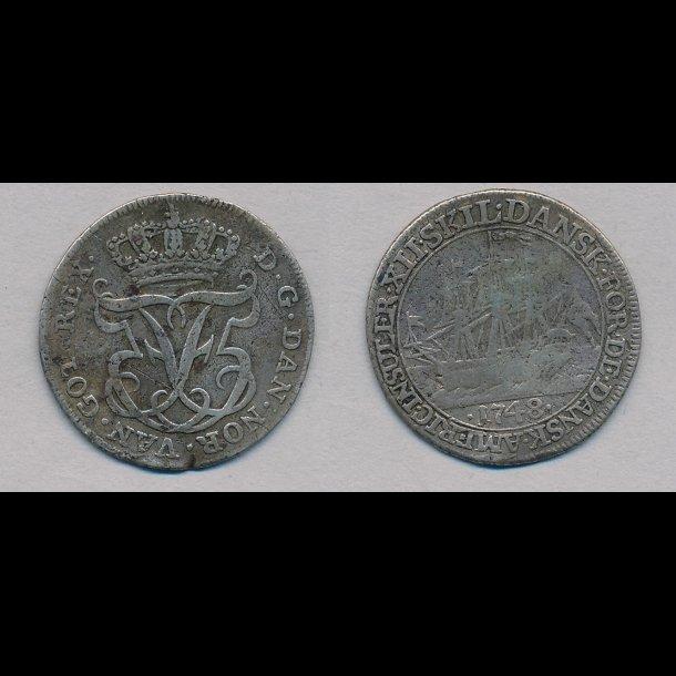 1748, Dansk Vestindien, Frederik V, 12 skilling, 1+