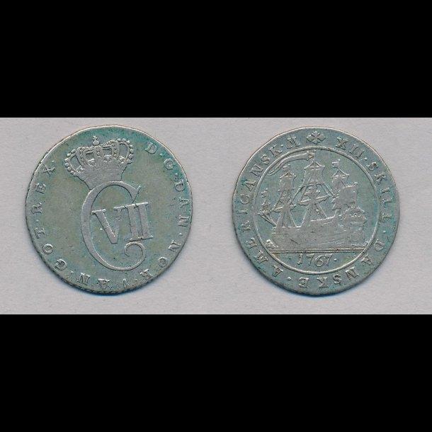 1767, Dansk Vestindien, Christian VII, 12 skilling, 1+
