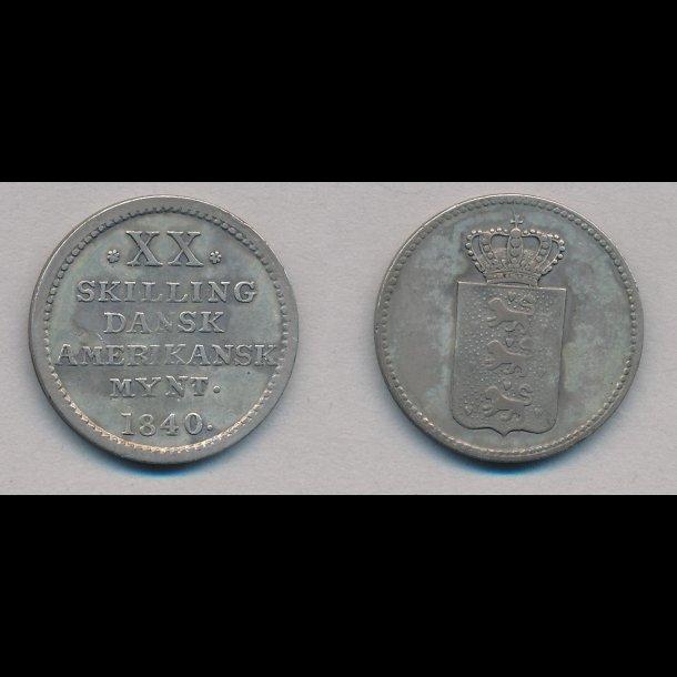 1840, Dansk Vestindien, Dansk Amerikansk mønt,  XX skilling, 01