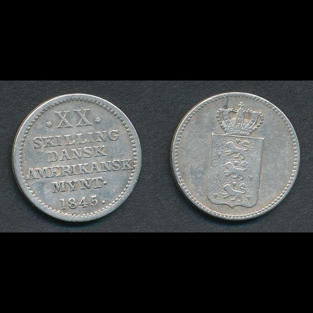 1845, Dansk Vestindien, Dansk Amerikansk mønt,  XX skilling, 1+