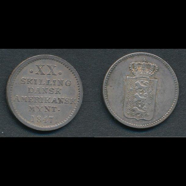 1847, Dansk Vestindien, Dansk Amerikansk mynt, XX skilling, 01