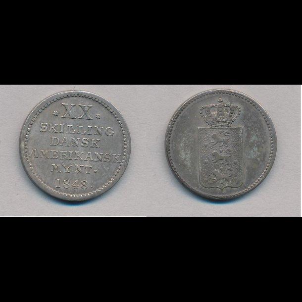 1848, Dansk Vestindien, Dansk Amerikansk mønt, XX skilling, 01
