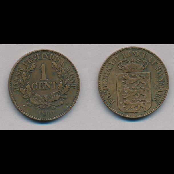 1860, Dansk Vestindien, 1 cent, 1+
