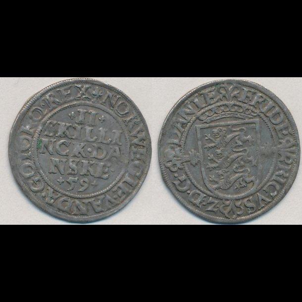 1559, Frederik II, 2 skilling, 1++