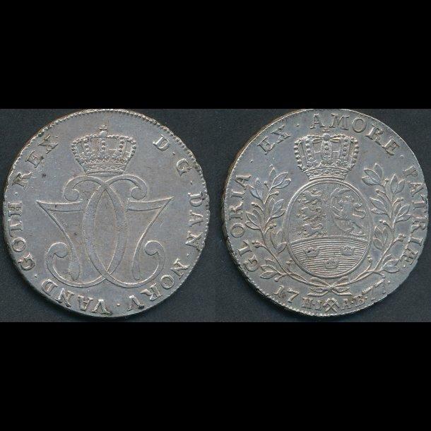 1777, Christian VII, Norge, speciedaler, H2, 01/1+