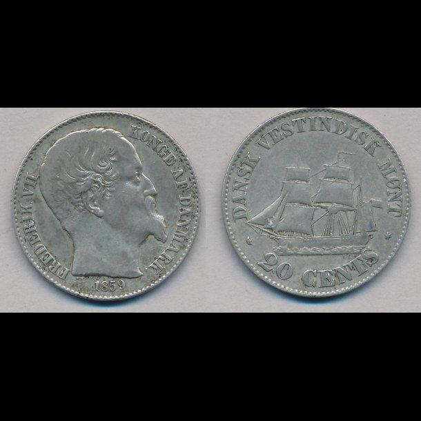 1859, Dansk Vestindien, Frederik VII, 20 cents,1+, lbnr 20