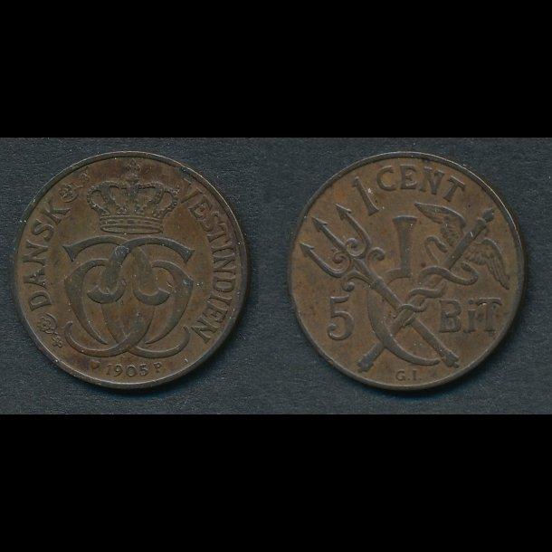 1905, Dansk Vestindien, Christian IX, 1 cent, 5 bit, 1