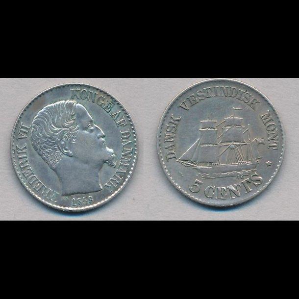 1859, Dansk Vestindien, Frederik VII, 5 cents, 1