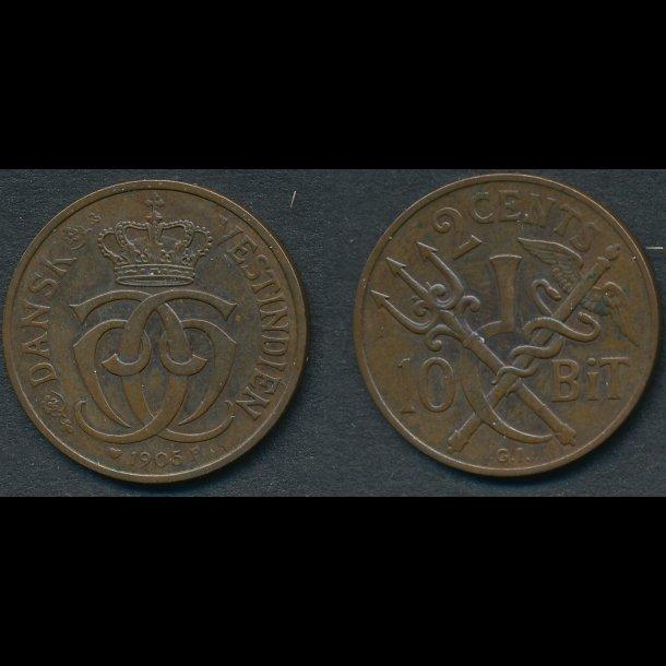 1905, Dansk Vestindien, Christian IX, 2 cents, 10 bit, 1
