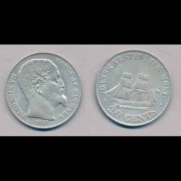 1859, Dansk Vestindien, Frederik VII, 20 cents, 1