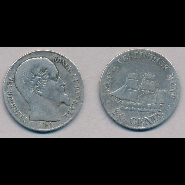 1862, Dansk Vestindien, Frederik VII, 20 cents, 1