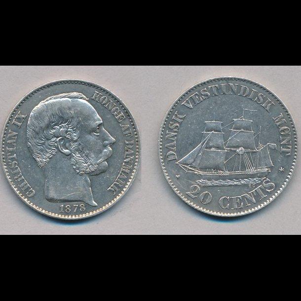 1878, Dansk Vestindien, Christian IX, 20 cents, 01