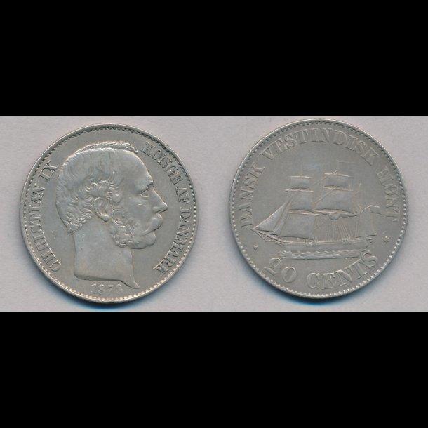 1878, Dansk Vestindien, Christian IX, 20 cents, 1+
