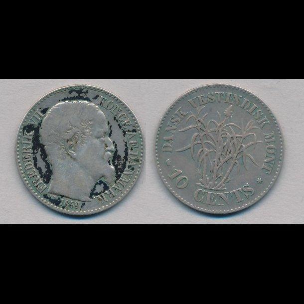 1859, Dansk Vestindien, Frederik VI, 10 cents, 1 (+)