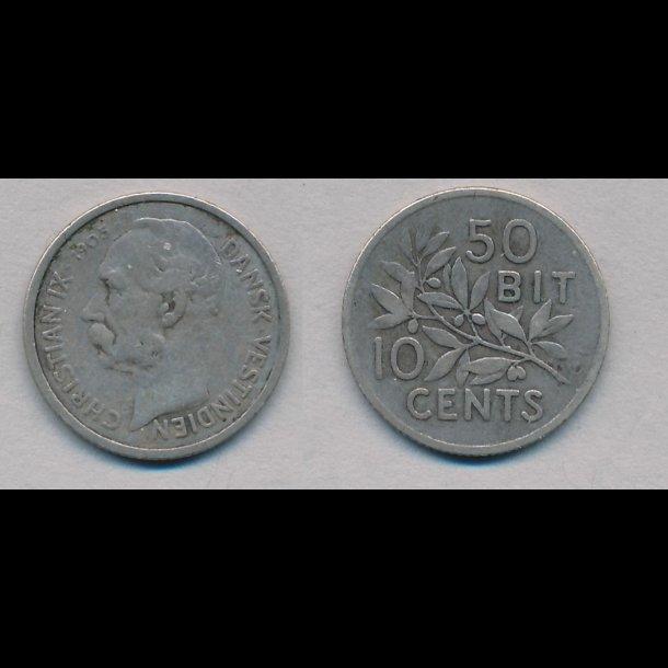 1905, Dansk Vestindien, Christian IX, 10 cents, 1