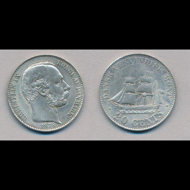 1878, Dansk Vestindien, Christian IX, 20 cents, 1 (+)