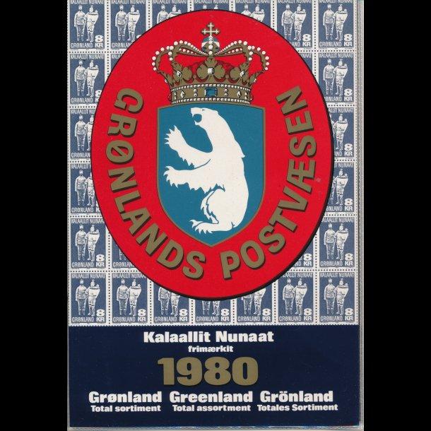 1980, Grønland, årsmappe, postpris 21,90kr