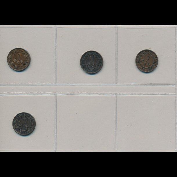 1907, 1909, 1910, 1912, 1 øre, Frederik VIII, 4 forskellige, normal pris 100,00kr, tilbud 58,00kr
