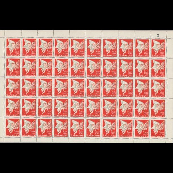 1933, Julemærker, helark, Danmark,  Engel med juletræ,