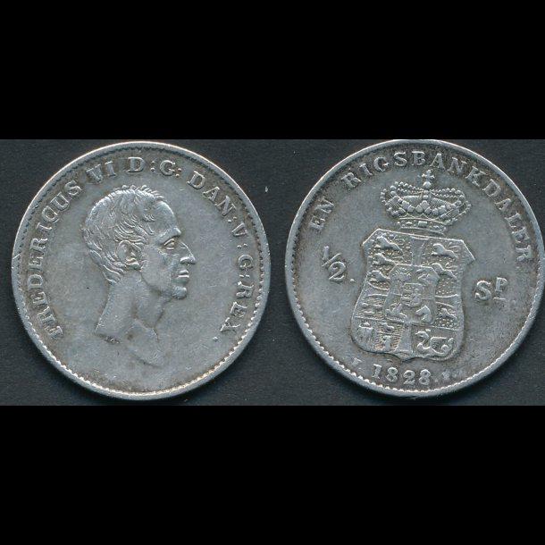 1828, Frederik VI, 1 rigsbankdaler, / ½ speciedaler, *(166)